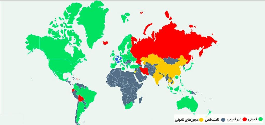 استخراج بیتکوین در کشورها